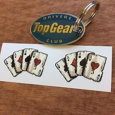 FOUR ACES Playing Cards Hot Rod Vintage Helmet Car Stickers Decals 2 off 45mm