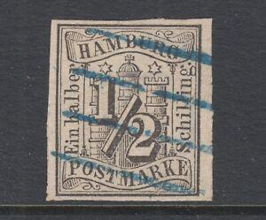 Hamburg-Sc-1-used-1859-s-black-Numeral-imperf-4-margins-blue-cancel-sound