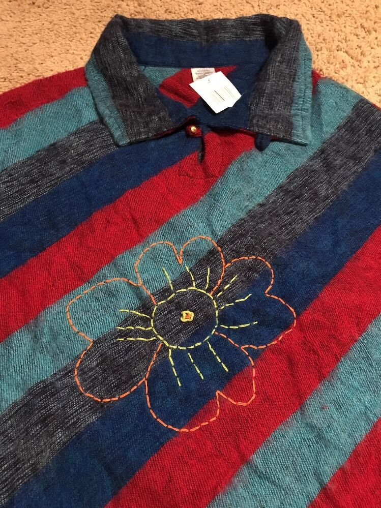 Poncho Hand Made in Nepal Flower accent Stripe Acrylic Modal New
