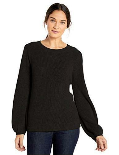 Size Large Black Lark /& Ro Women/'s Bell Sleeve Sweater Large Black