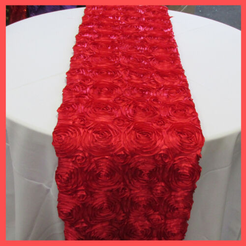 "Decoration Table Top Runner 4 Pieces 12/"" x 84/"" Rose Floral Satin Wedding Linens"