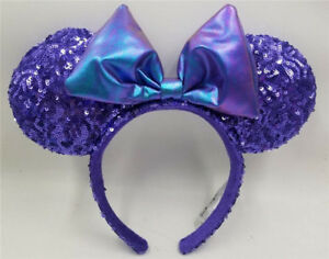 NEW-Disney-Parks-Disneyland-Purple-Potion-Sequins-Minnie-Ears-Headband-Kids-Gift