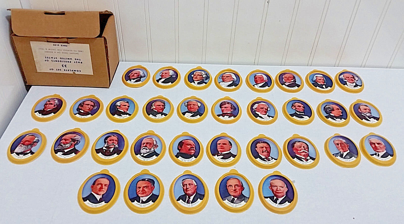 RARE Vtg 1950s Nabisco Cereal Premiums Complete Set of 33 US Presidents in Box