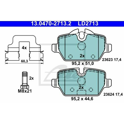 Bremsbeläge Bremsklötze hinten für BMW 1er E87 E81 3er E90 E91 MINI Mini R50