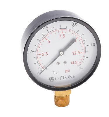 /Ø 50 mm Druckluft Manometer//Vakuummeter 1//4 Anschluss unten HELO 0-2,5 bar Manometer senkrecht aus Messing im Metallgeh/äuse