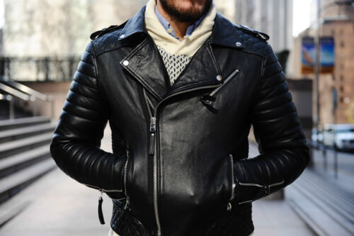 Da Uomo Cool Trapuntato Biker Nero Giacca in Pelle Vera Moto