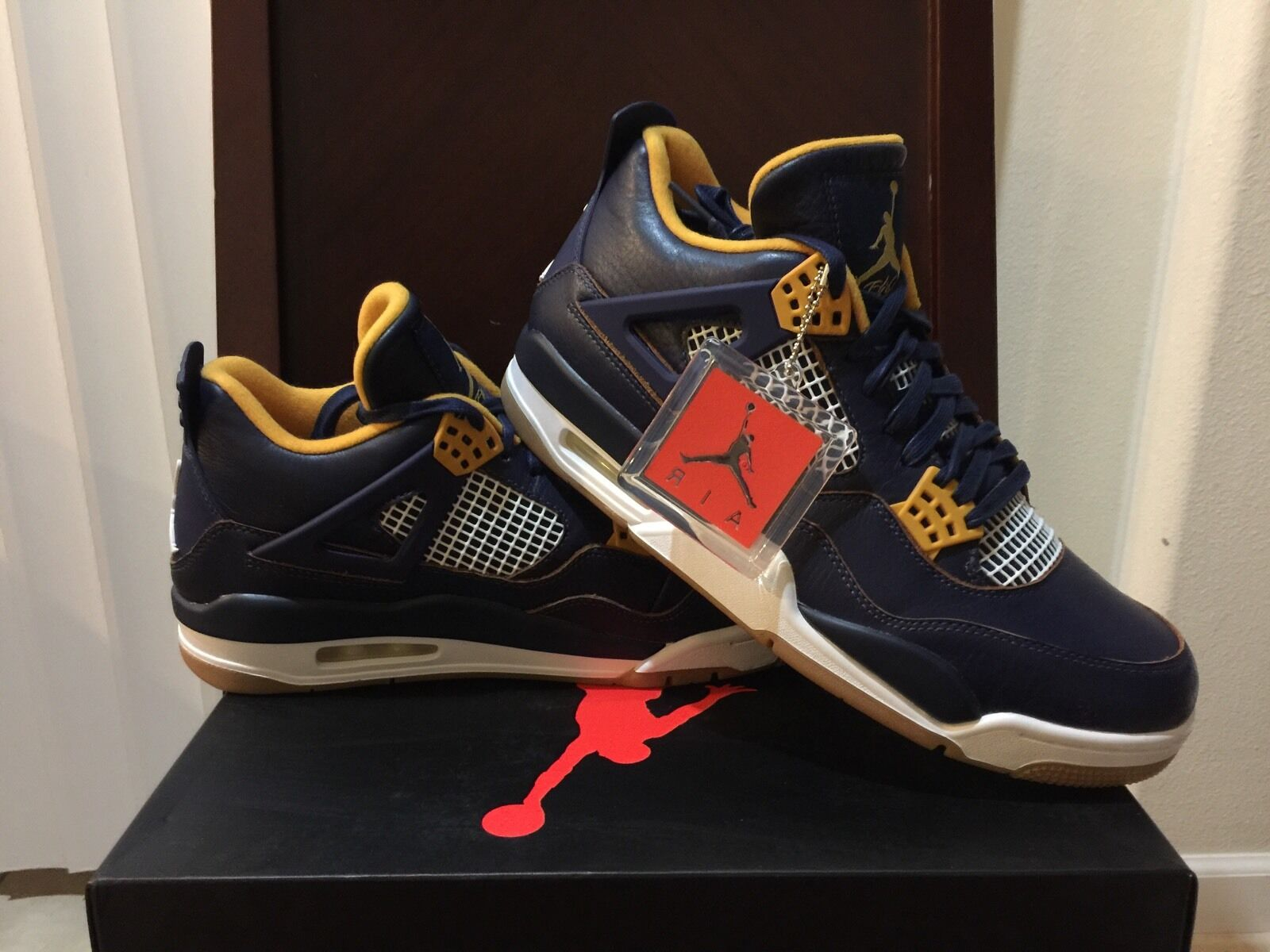 0c8029540158 NEW NIKE JORDAN 4 RETRO DUNK FROM ABOVE ABOVE ABOVE NAVY gold Men s SIZE 10  ...