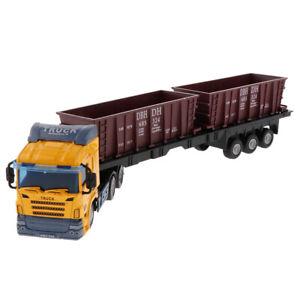 1:48 Simulation Construction Trailer Truck Model Kids Development Toy Yellow