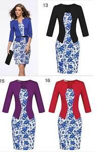 Women-Pencil-Dress-3-4-Sleeve-Knee-Formal-Slim-Bodycon-Business-Career-Work-8-18
