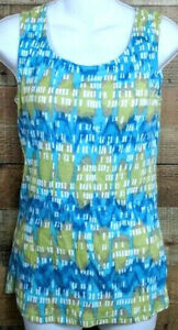 Style-amp-Co-Tank-Top-Sequined-Tie-Dye-Green-Blue-Sleeveless-Athletic-Tee-Size-S