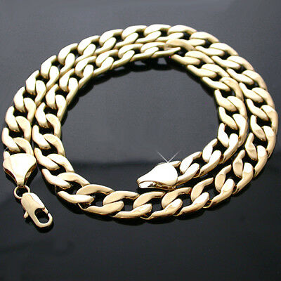"Mens 11.5mm CUBAN Flat CURB Link 14K 24K GOLD GL 24"" Necklace + LIFETIME GUAR"
