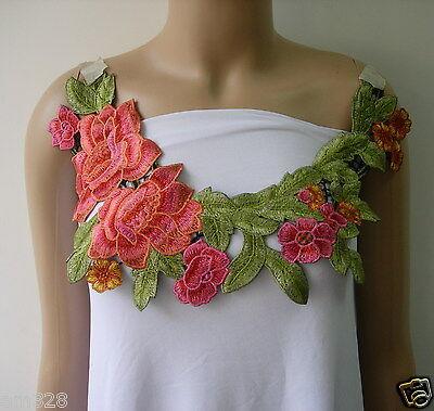 VK137 Glamour Floral Collar Neckline Lace Venise Applique Motif Black Sew//Design