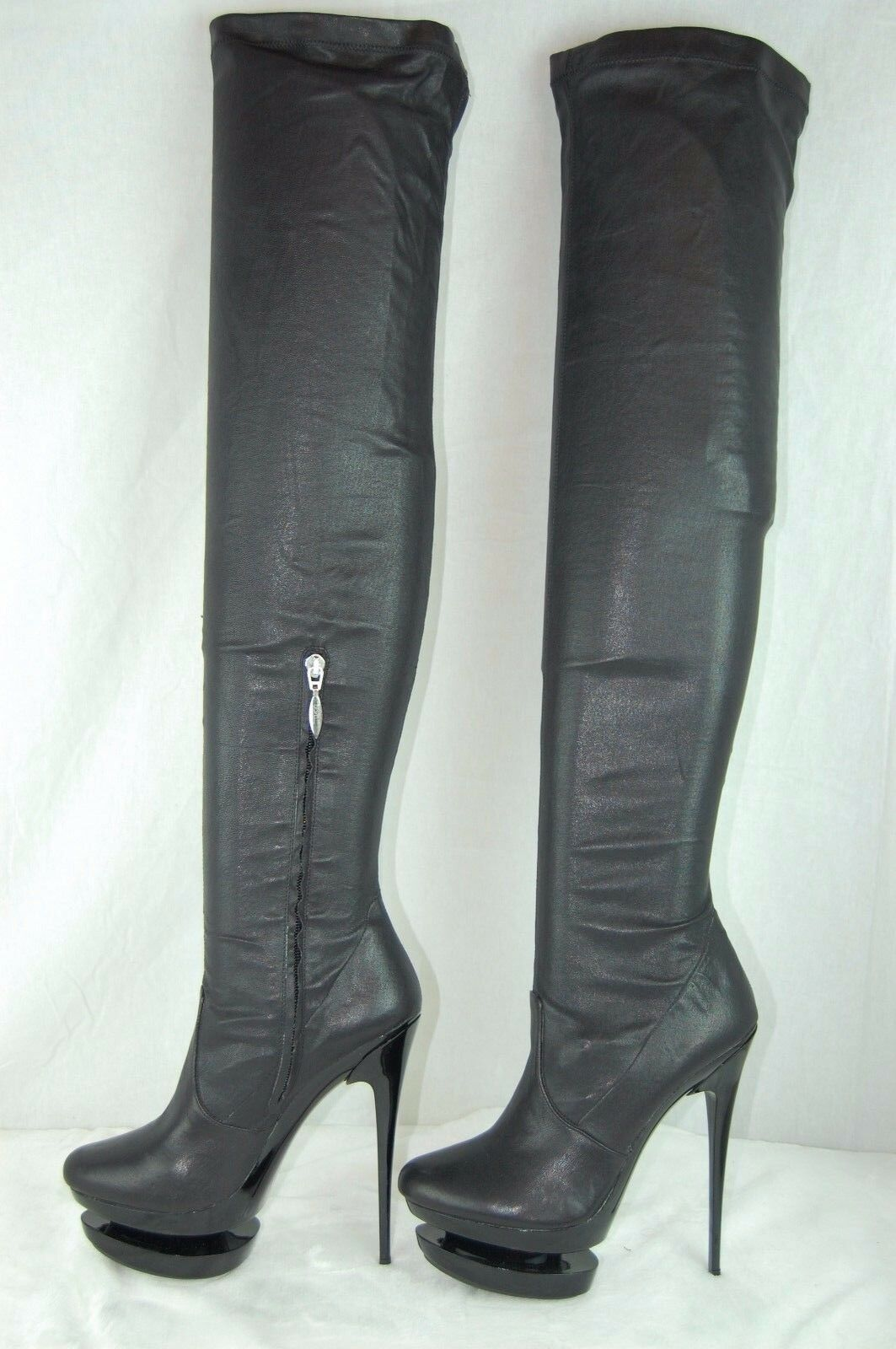 MIPIACI MADE IN ITALY schwarz  LEATHER STRETCH OVER THE KNEE Stiefel  EU 37 US 6.5