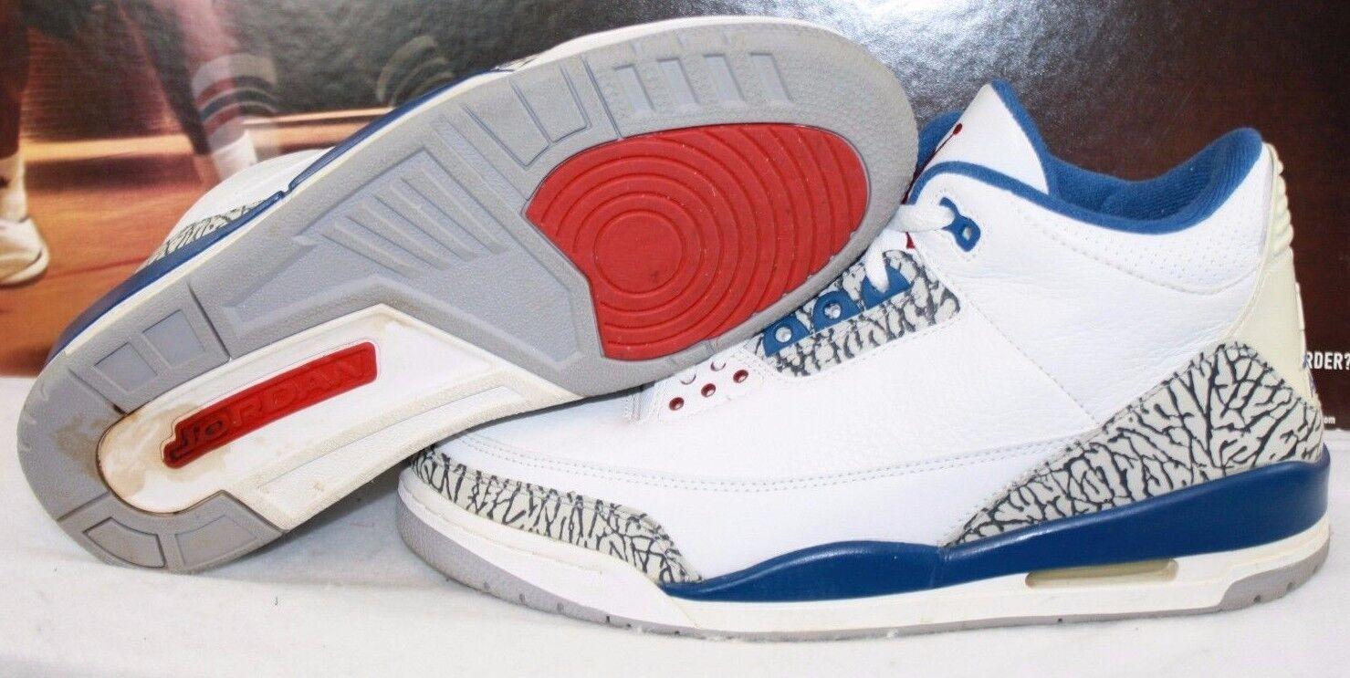 Seminuevo Hombre nike air Jordan 3 retro blanco azul zapatillas de de baloncesto 136064 141 de zapatillas liquidación de temporada 811988