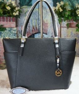 0e9111030 NWT MICHAEL KORS JET SET LARGE East/West Top Zip TOTE Bag In BLACK ...