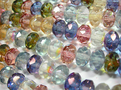 25  Multi Color Luster Czech Glass Rondelle Beads 9x6mm