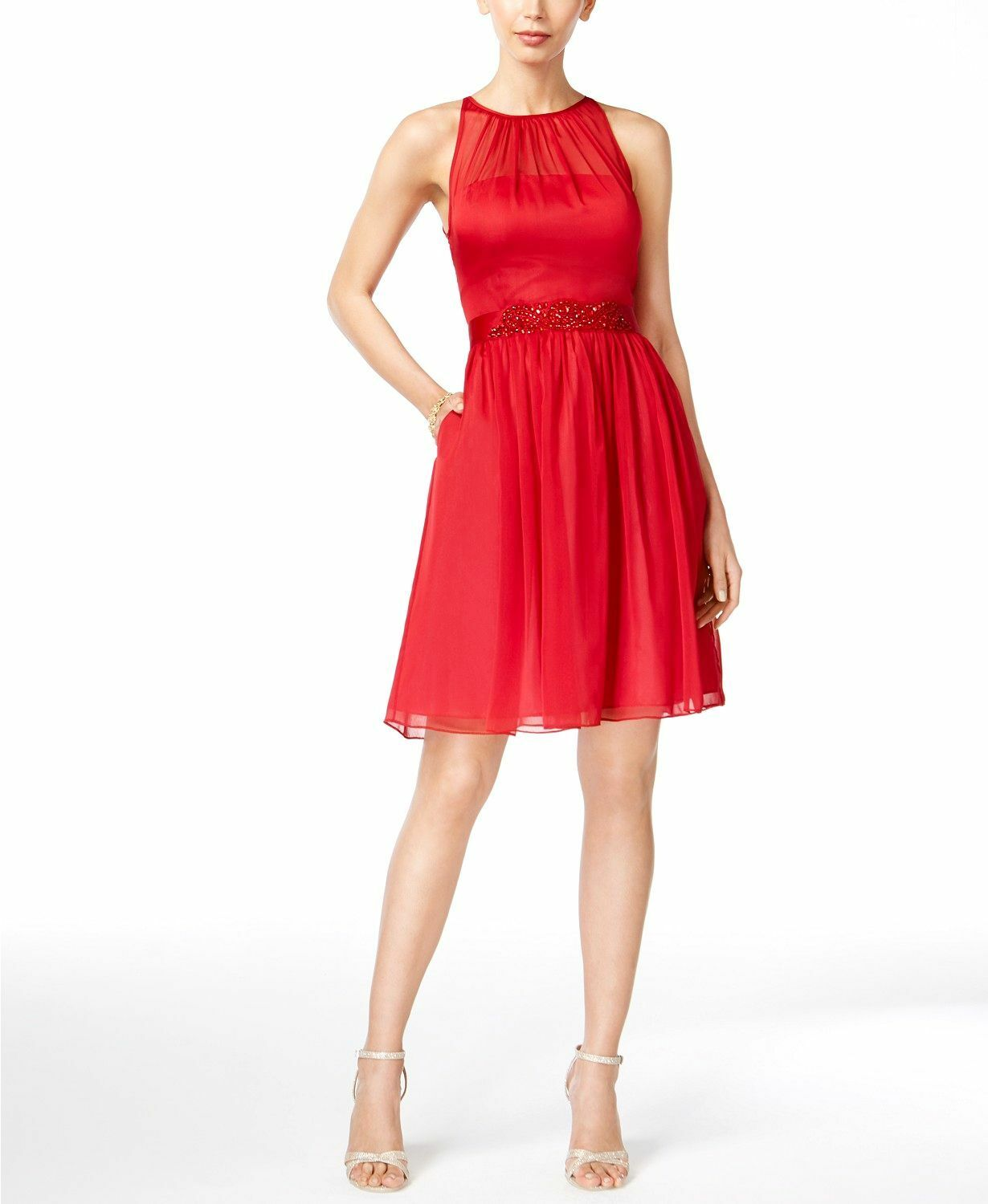 360 ADRIANNA PAPELL WOMEN'S RED SLEEVELESS HALTER BELTED STUDDED DRESS SIZE 4