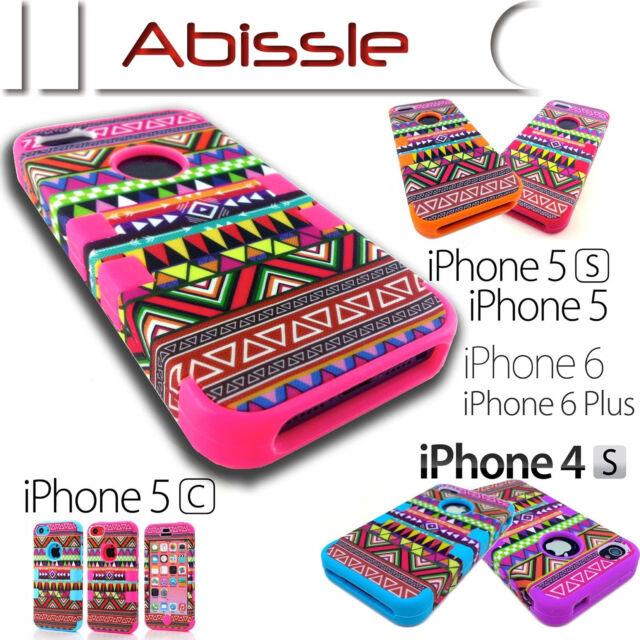 Heavy Duty Durable Aztec Tribal Case Cover for Apple iPhone 4S 5C 5S SE 6S Plus