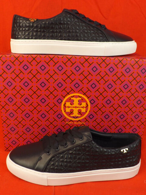 ce5067542eee NIB TORY BURCH GRAY QUILTED FELT MARION T LOGO LACE UP SNEAKERS 8.5 ...