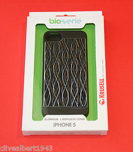 KRUSELL-Aluminium-amp-Bioplastic-Cover-89749-for-iPhone-5-amp-5S-in-Black-Wave-034-NEW-034