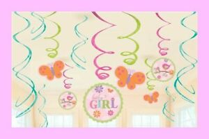 12-Piece-It-039-s-a-Girl-Baby-Shower-Decorations-Butterfly-Theme-Swirls-T002