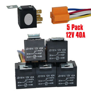 5x 12v 30A//40A 5 Pin SPDT Car Automobile Relay Socket High Switching Capability