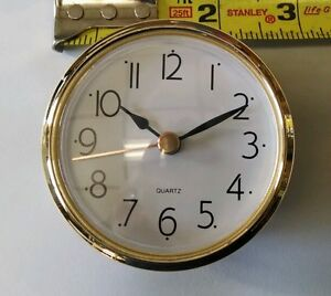 """CLOCK FIT UP White Dial, easy to read arabic, Insert 2 7/8"""" dia, NEW, (#272)"""