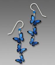 Sienna Sky Earrings Sterling Silver Hook Cascading 3D Blue Morpho Butterflies