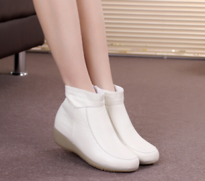 Womens Casual Round Toe Wedge Low Heels Nurse White Warm Ankle Boots shoes