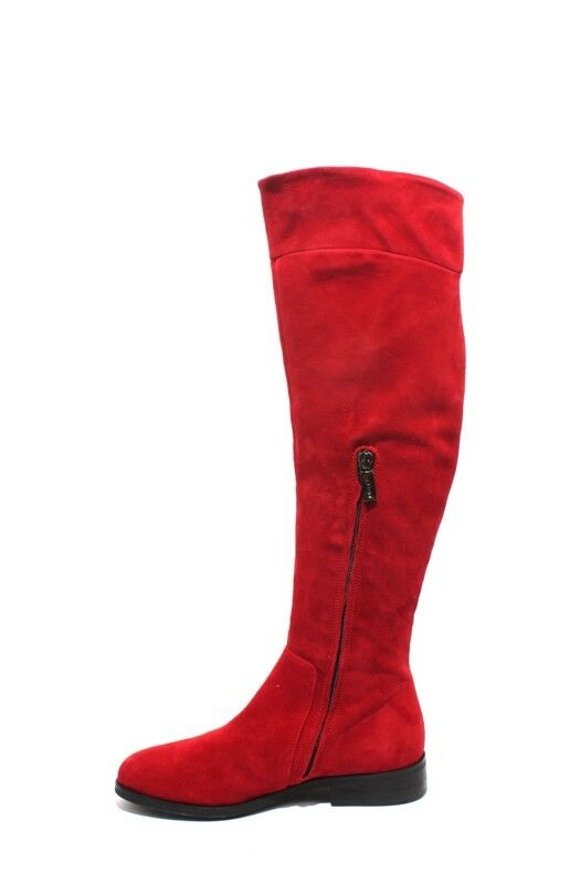 Mally 2055a Red Red Red Suede Leather Knee-High Zip-Up Riding Boots 35   US 5 8dfe52