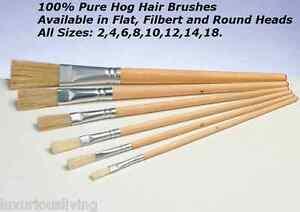 long handle hog hair round flat filbert artist art craft paint brush