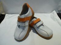 Zorin Leather White/orange Shoes Made In Spain Size 28