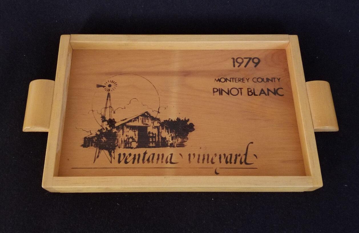 Vintage rare vin Cas fin plateau en bois  Ventana Vineyard Pinot Blanc 1979