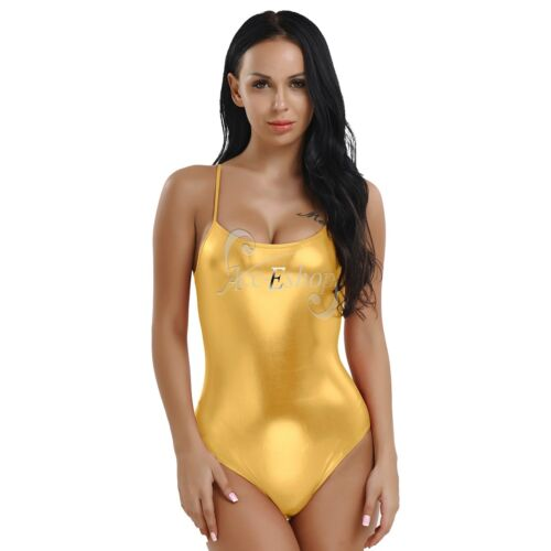 Women/'s Shiny Leather Bodysuit Wet Look Strap Leotard Jumpsuit Ballet Dance Wear