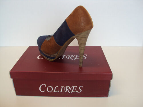 Heels Leather Lined Platform COLIRES Size 3 4 5 Ladies Blue /& Brown Azul