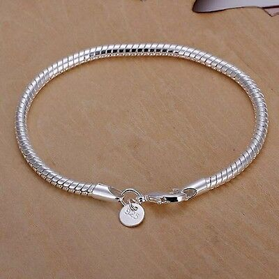 """Hot Quality 925 Silver SP Fashion Snake Chain Bracelet 3mm 8"""" European beads fit"""