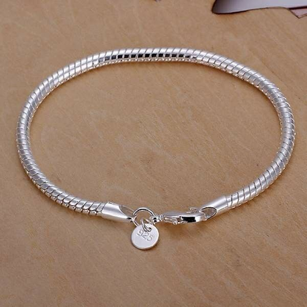 """Trendy Chic 925 Silver SP Fashion Snake Chain Bracelet 3mm 8"""" European beads fit"""