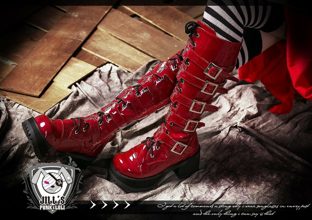 Punk heavy Metal band sugar Rock n Roll knee high Martene Heel Boots RD 5151