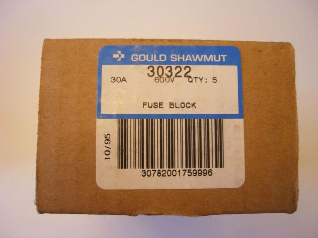 Nuevo 30322 Gould Shawmut Bloque de Fusibles,Lote de 5