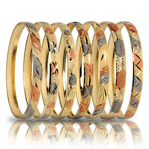 Image Is Loading 3 Tone Gold 7 Day Semanario Bangles Usa