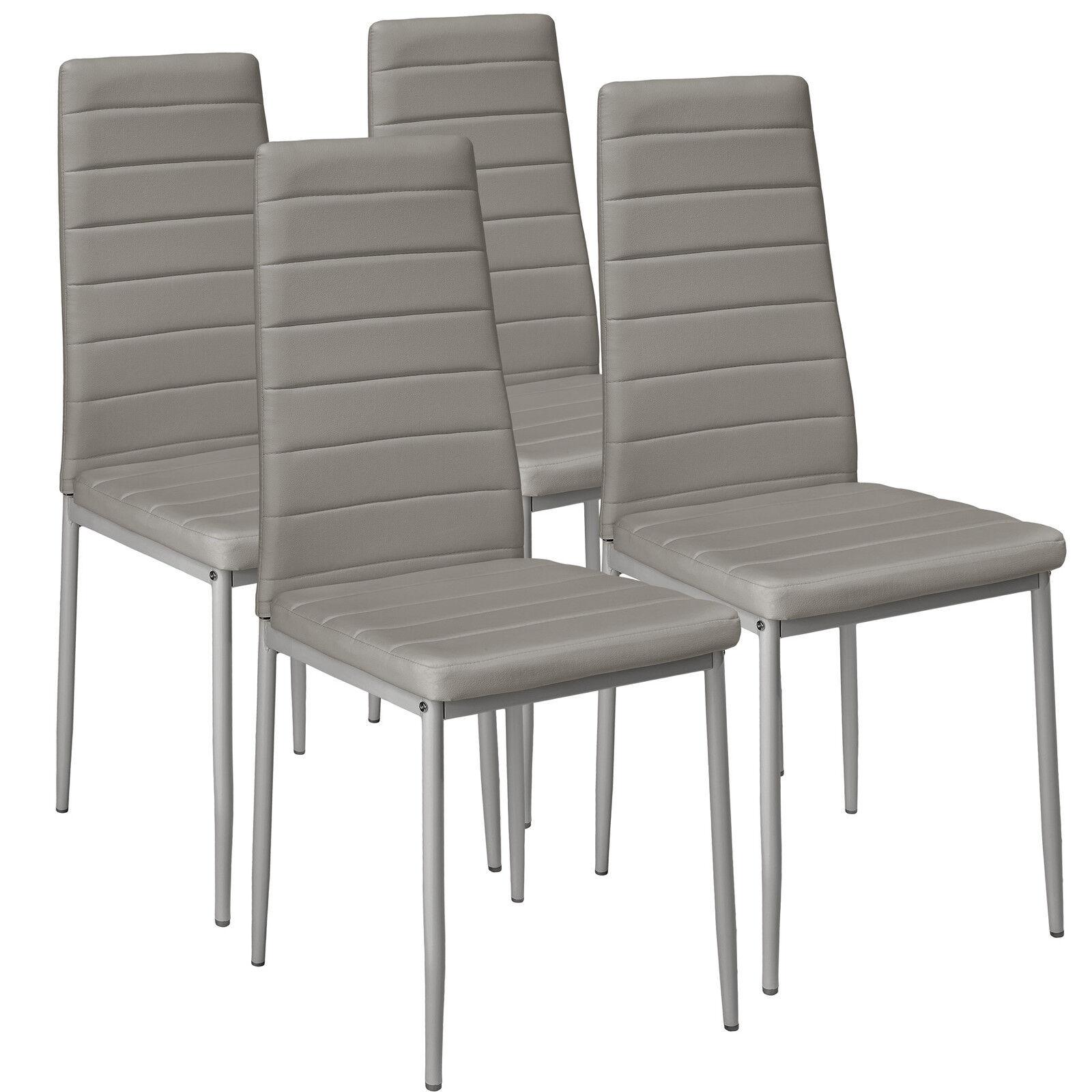 4x Sillas de comedor Juego elegantes sillas de diseño modernas cocina gris...