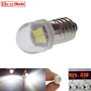 Details About Pair White Flashlight 5630 2 Led Lamp Screw 3 Volt Dc Bicycle Torch E10 Mes Bulb