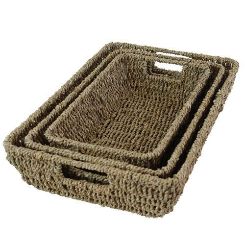 Tapered Seagrass Storage Baskets Trays with Handles Home Office