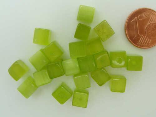20 perles VERT Olive cubes 6mm verre OEIL DE CHAT DIY création bijoux
