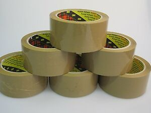 6 x 3M Scotch Buff Parcel Packing Tape 66mx50mm