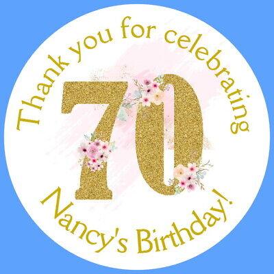 Personalised Gloss 70th Festa Di Compleanno Favore Etichette, Adesivi Di Ringraziamento-mostra Il Titolo Originale Sconto Del 50