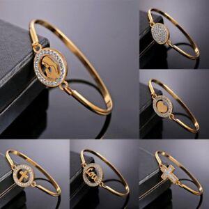 Fashion-Gold-Stainless-Steel-Love-Heart-Women-Bracelet-Bangle-Family-Jewelry