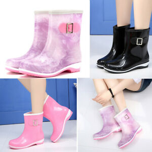 Womens-Waterproof-Rain-Boots-Mid-calf-Shoes-Galoshes-Non-slip-Wellies-Lady-New