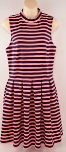 Femme-Superdry-de-filles-robe-rose-fluo-Noir-rayures-taille-moyenne