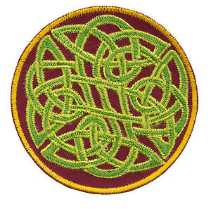 Embroidered Badge Node Without End Runic Green Buddhist Hand Made Nepal 1863 E4